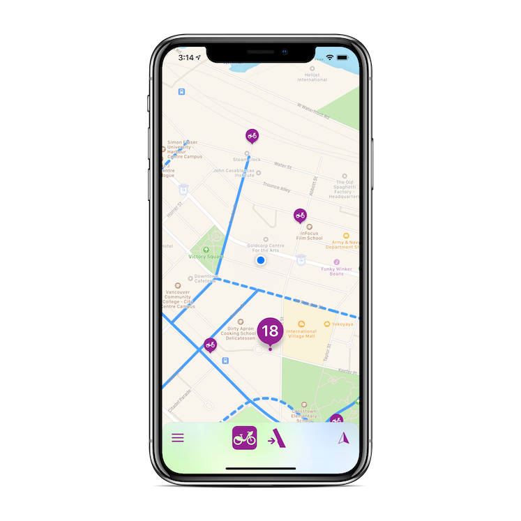 Screenshot of Mo'Bikes app